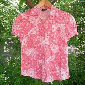 George stretch Pretty Pink Pearlized Button shirt